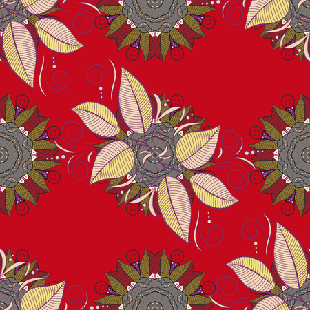 Vector flat illustration. Vivid tropical flowers and leaves on red, gray and purple background.