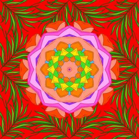 Mandala, tribal vintage sketch with a medallion on red, green, orange colors. Pattern with art flower for Tibetan yoga. Bohemian decorative element, indian henna design, vector retro circle ornament.