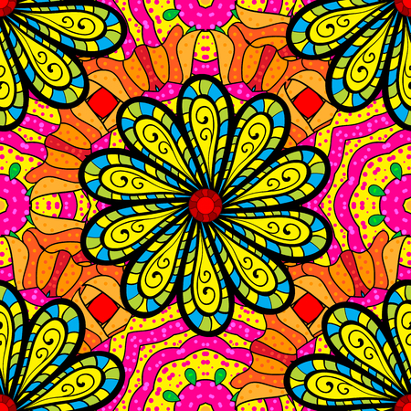 Flowers on yellow, black and magenta colors in watercolor style.