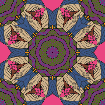 Hand-drawn vector mandala with colored abstract pattern on a colorful background.