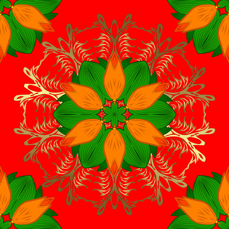 Traditional indian style, ornamental floral elements for henna tattoo, colored stickers, mehndi and yoga design, cards and prints. Vector sketch of colored mehndi mandala on red, green and orange.