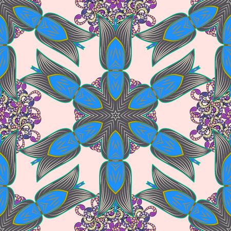 Color Spring Theme seamless pattern Background. Flat Flower Elements Design. Vector illustration. Seamless pattern Fashionable fabric pattern. Cute floral elements. Illustration