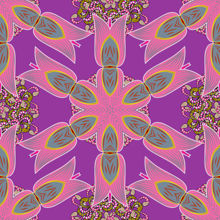 Purple, pink and neutral colors with colored ornament mandala, based on ancient Greek and Islamic ornaments For wedding invitation, book cover or flyer.