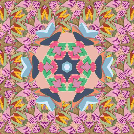 Colored mandalas element. Vector illustration. Pink, neutral and blue colors.