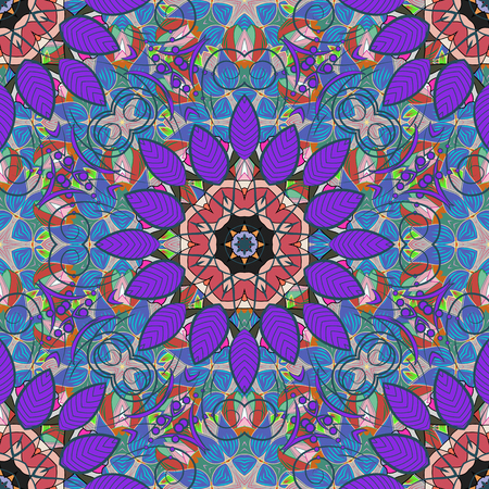 Vintage vector decorative ornament. East, Islam, Indian, motifs. Colored. Arabic Mandala pattern on blue, violet and pink colors. Orient, symmetry lace, fabric. Wedding, holiday card. Ethnic texture.