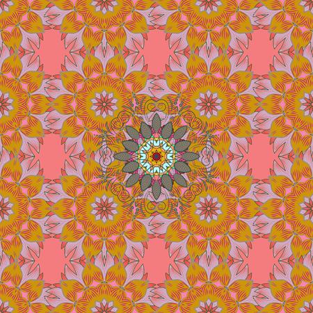 Vector colored snowflakes design decorative Christmas element on a yellow, pink and neutral colors.