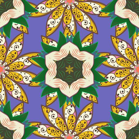Colour Summer Theme seamless pattern Background.   Flat Flower Elements Design. Vector floral background. Illustration