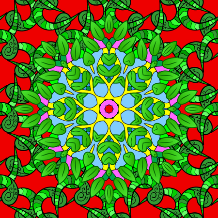 Summer seamless pattern with stylized flowers. Vector ornate seamless texture, pattern with abstract floral mandalas on green, red and black colors. Can be used for wallpaper, web page.
