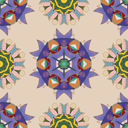 Vector colored design abstract mandala sacred geometry illustration on a neutral, violet and green colors. Illusztráció