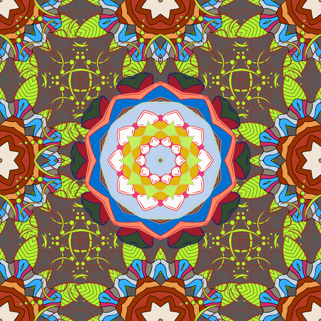 Ornate, eastern mandala with colored contour. Art, round, colorful ornament on a brown, gray and green colors. Illustration