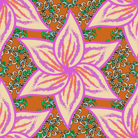 Vector watercolor floral pattern, delicate flowers, beige, violet and orange flowers, greeting card template. Beautiful fabric pattern.