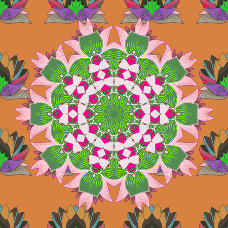Pattern with abstract art flower for Tibetan yoga.   Mandala colored, tribal vintage background with a medallion.