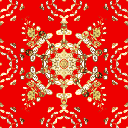 Oriental style arabesques. Seamless pattern on red and yellow colors with golden elements.