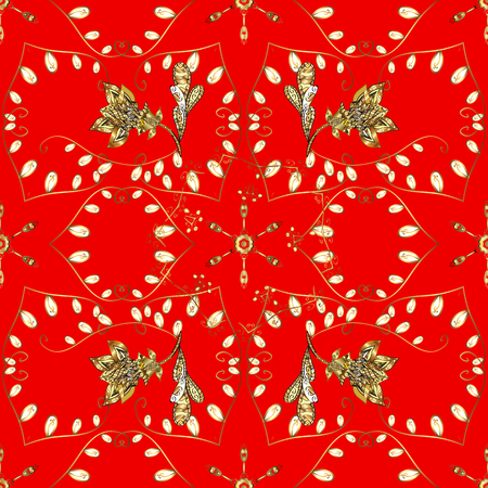 Seamless classic vector red and yellow and golden pattern. Traditional orient ornament. Classic vintage background.