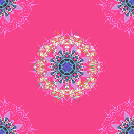 Hand drawn vector colored Mandala seamless pattern.   Ethnic ornament on pink, neutral and beige colors.