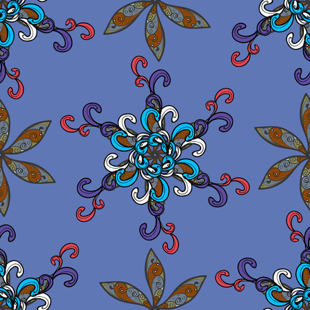 Hand drawn floral blue, black and gray colors pattern ethnic mandalas doodle backdrop