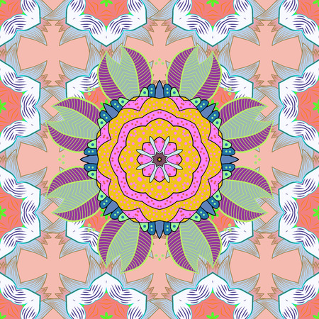 East, Islam, Thai, Indian, ottoman motifs. Arabic Vintage decorative ornament. Mandala pattern. Orient. Vector Mandala colored on neutral, beige and pink colors. Abstract Tribal, ethnic texture.