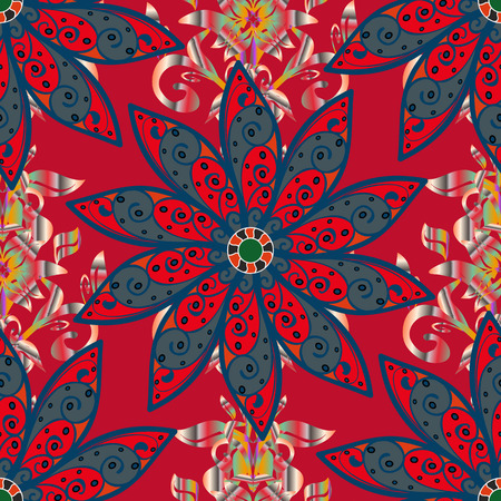 Floral pattern vector illustration with flowers on red, blue and pink colors. Illustration