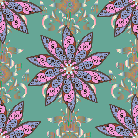 Flower pattern on blue, brown and pink colors.