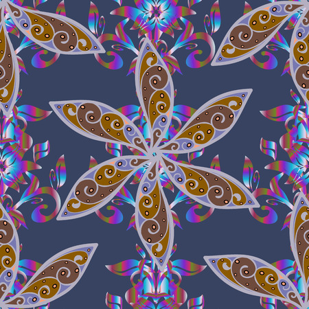 Beautiful fabric pattern of flat flower elements design.  イラスト・ベクター素材
