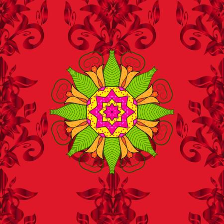 Geometric circle vector element. Ornament red, green and yellow colored card with mandala. Kaleidoscope, medallion, yoga, india, arabic. Tribal, Boho, Bohemian style.