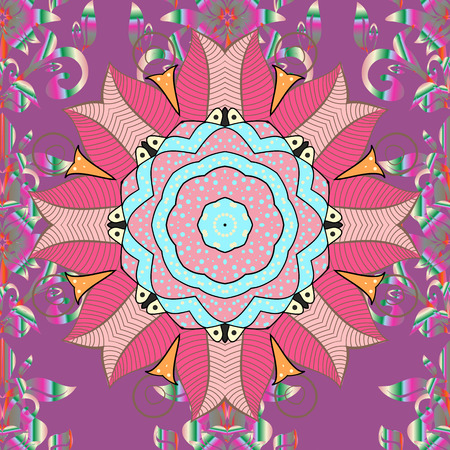 Colorful tile mandala on a purple, pink and neutral colors with abstract floral design Çizim
