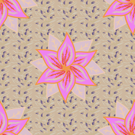 Vector floral illustration in vintage style. Vector illustration. Gentle, spring floral on beige, neutral and pink colors. Tender seamless pattern with flowers. Illustration