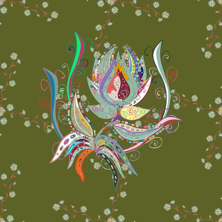 Botanical seamless pattern. Organic elements. Watercolor effect. Vector pattern. 일러스트