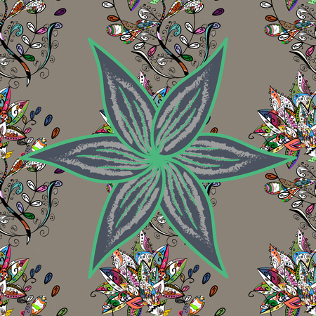 Wild flowers with leaves on gray, blue and black colors and creative backdrop pattern.