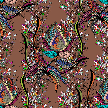 Flowers watercolor seamless pattern. Vector Stylish fabric pattern. Çizim