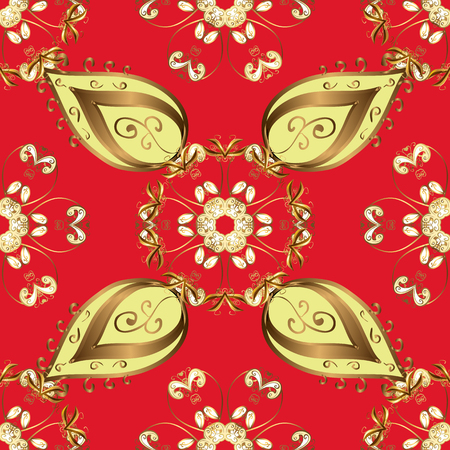 Red and yellow colors with golden elements illustration design