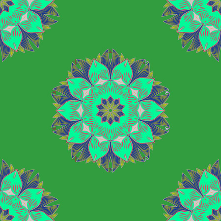 Seamless Floral Pattern in Vector illustration. Flowers on green, blue and pink colors in watercolor style.