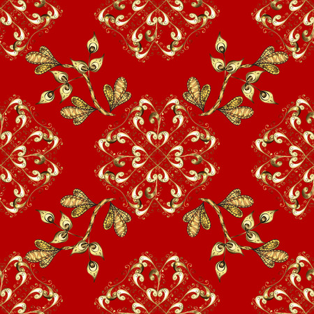 Gold template. Floral classic texture. Vector illustration. Seamless pattern golden elements. Design vintage for card, wallpaper, wrapping, textile. Royal retro on red and yellow colors.