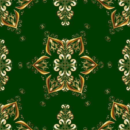Seamless golden pattern. Vector oriental ornament. Golden pattern on green and yellow colors with golden elements.