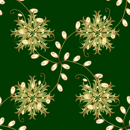 Golden floral ornament in baroque style. Damask seamless pattern repeating background. Golden element on green and yellow colors. Antique golden repeatable wallpaper. Illustration