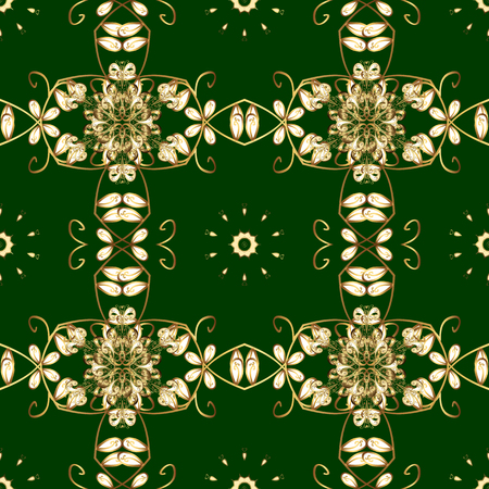 Seamless golden pattern. Vector oriental ornament. Seamless pattern on green and yellow colors with golden elements. Illustration
