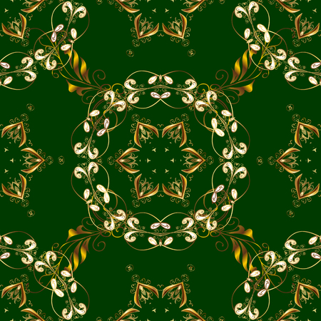 Winter snow texture wallpaper. Golden snowflakes on green and yellow colors. Symbol holiday, New Year celebration vector golden pattern. Christmas golden snowflake seamless pattern. Illustration