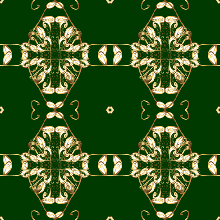 Stylish graphic pattern. Golden elements on green and yellow colors. Wallpaper baroque, damask. Floral pattern. Seamless vector background.