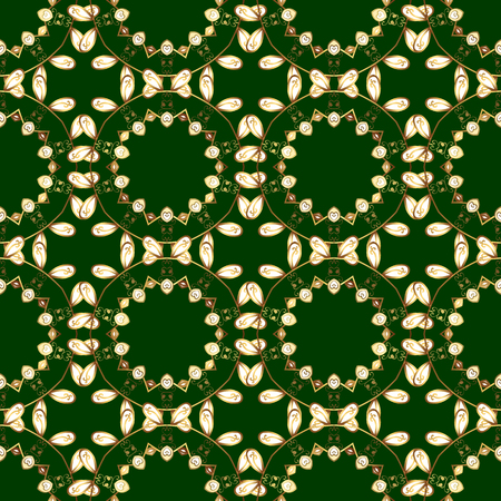 Vector golden floral ornament brocade textile and glass pattern. Seamless golden pattern. Green and yellow colors with golden elements. Gold metal with floral pattern.
