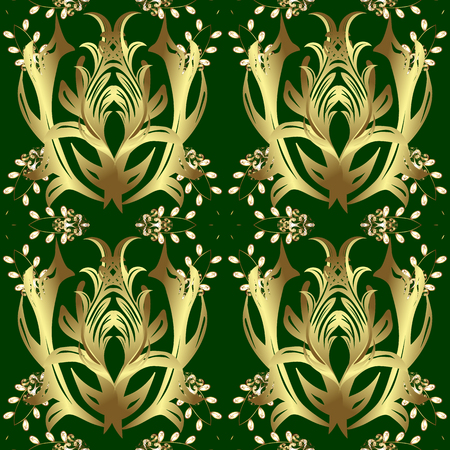 Golden pattern on green and yellow colors with golden elements. Traditional orient ornament. Seamless classic vector golden pattern. Classic vintage background. Vettoriali