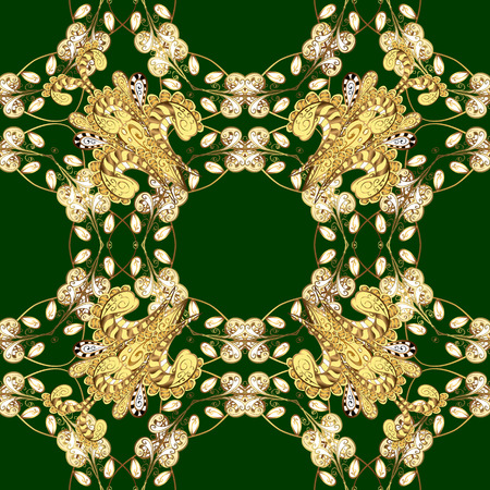Paisleys elegant floral vector seamless pattern background wallpaper illustration with vintage stylish beautiful modern 3d line art gold and green and yellow paisley flowers leaves and ornaments.