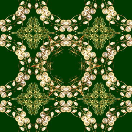 Abstract wallpaper, wrapping decoration. Vector golden pattern on green and yellow colors. Symbol of winter, Merry Christmas holiday, Happy New Year 2018. Golden snowflake simple seamless pattern.