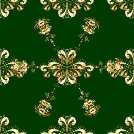 Wallpaper baroque, damask. Seamless vector background. Floral pattern. Golden elements on green and yellow colors. Stylish graphic pattern. Illustration