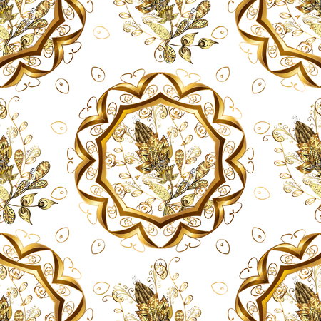 White and yellow colors with gold elements. Seamless golden textured curls. Vector golden pattern. Oriental style arabesques. Vettoriali