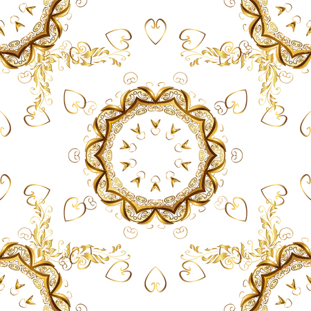 Gold Wallpaper on texture background. Damask seamless repeating background. Gold floral ornament in baroque style. Golden element on white and yellow colors. Illustration