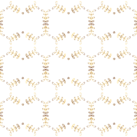 Damask seamless repeating pattern. Gold floral ornament in baroque style. Antique golden repeatable wallpaper. Golden element on white and yellow colors. Illustration