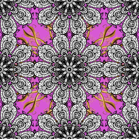 Metal with floral pattern. Seamless golden pattern. Vector golden floral ornament brocade textile pattern, white doodles. Black, white and violet colors with golden elements. Vettoriali