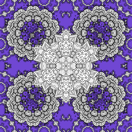 Antique colorful repeatable wallpaper. Damask seamless pattern repeating background. Colorful white, violet and black floral ornament in baroque style. Colorful element on white, violet, black colors.