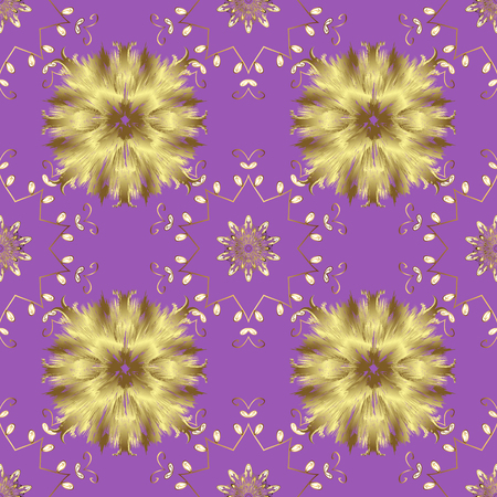 Violet, neutral and yellow colors with golden elements. Seamless golden pattern. Gold metal with floral pattern. Vector golden floral ornament brocade textile and glass pattern.