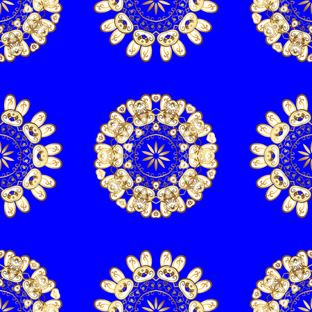 Damask seamless pattern for design. Vector seamless pattern on blue, white and yellow colors with golden elements. Illustration